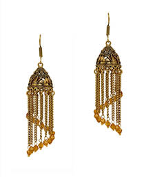 Buy Oxidised Gold Plated Golden Crystal Hanging Jumki Earrings navratri-lehenga-chaniya-choli online