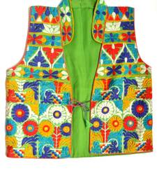 Buy Green Embroidered Jacket girls-jackets-coat online