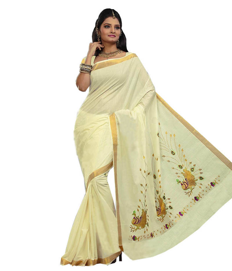 Buy Cream Woven Cotton Saree With Blouse Online