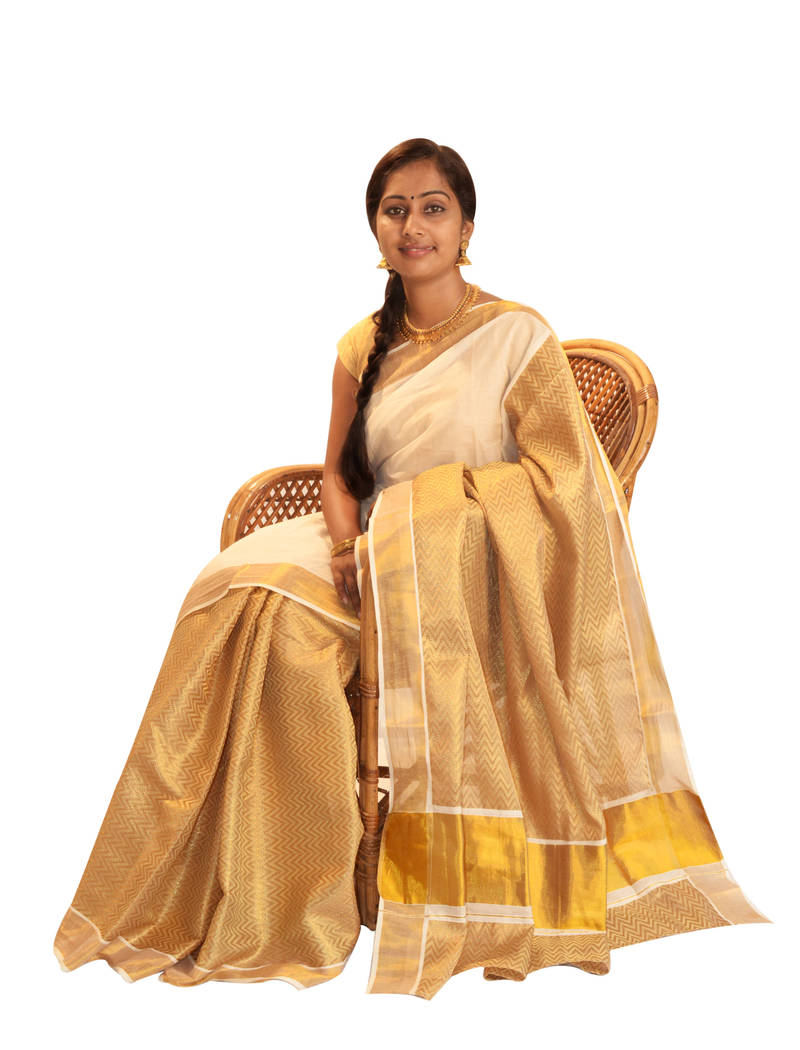 Buy Off White And Golden Cotton Saree With Blouse Online