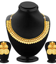 Buy Trendy Gold Plated Temple Jewellery Necklace Set necklace-set online