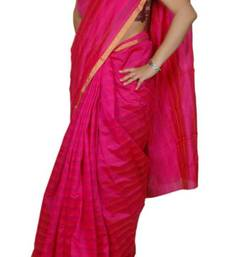 Buy Pink Striped Chanderi Saree chanderi-saree online