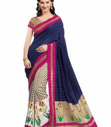 Buy Multicolour printed silk saree with blouse ethnic-saree online