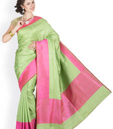 Buy Pista Green  and  Gajri Pink hand_woven satin saree with blouse satin-saree online