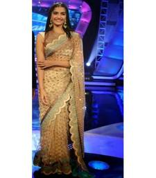 Buy Cream embroidered net saree with blouse party-wear-saree online