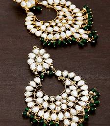 Buy Green Beads and Kundan Embellished Dangler Earrinngs 217ED25 danglers-drop online