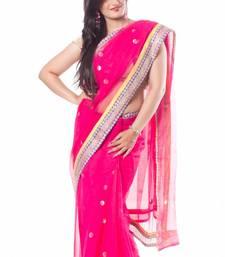 Buy Rani Pink Banaras Net Saree banarasi-saree online