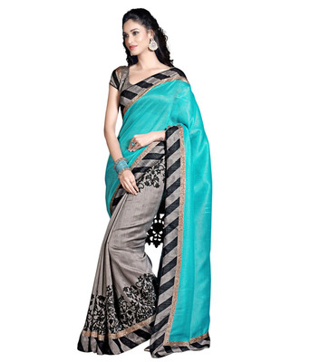 Grey and Green printed georgette saree with blouse