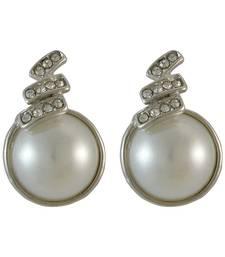 Buy Round Pearl Silver Drop Earring for Women danglers-drop online