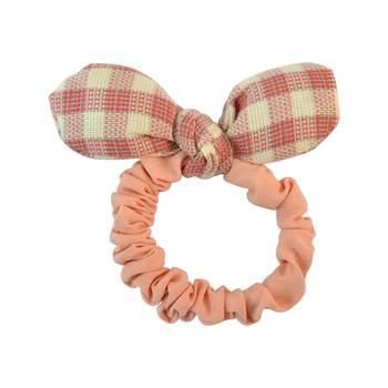 Plain Peach Fabric Hair Rubber Band for Women