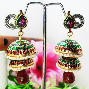 Meenakari Double Tokri Earring Green Maroon Dots
