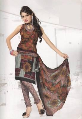 Crepe dress material elegant designer unstitched salwar suit d.no 4318
