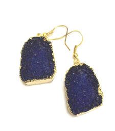 Buy Blue  Druzy Earrings hoop online