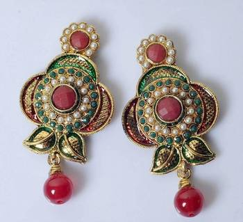 Flower shapeTraditional Earring with colourfull stone