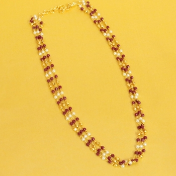 Ruby and Pearl Gold Necklace
