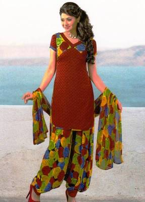 Dress Material Crepe Unstitched Patiala Salwar Kameez Suit D.No 6151