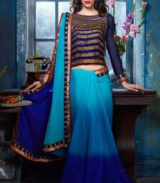Buy blue embroidered chiffon saree with blouse heavy-work-saree online