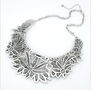 Silver lace filigree necklace