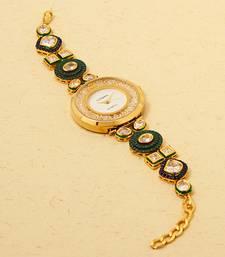 Buy Green Gemstone and Kundan Studded Wrist Watch with 23k Gold Polish karva-chauth-gift online