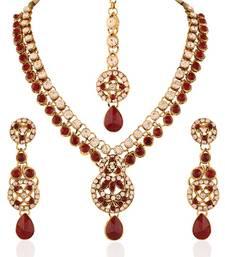 Buy Eye-Catchy Gold plated Australian Diamond Stone  Necklace Set diwali-jewellery online