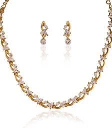 Buy Classy Gold plated Australian Diamond Stone  Necklace Set eid-jewellery online