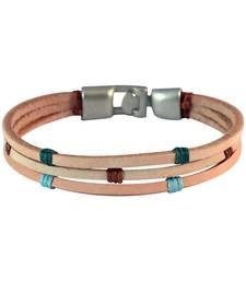 Buy Men Multi-stranded Leather Bracelet Beige color for Everyday wear Bracelet online