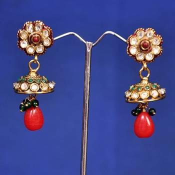 Designer Green Red Jhumka Earring