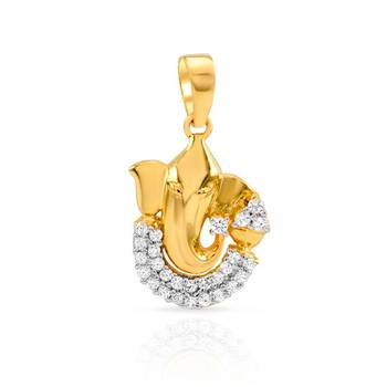 Mahi Gold Plated Gajmukh Pendant with CZ