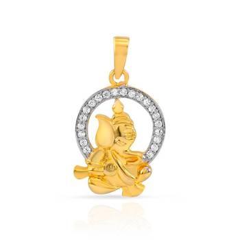 Mahi Gold Plated Ganpati Pendant with CZ