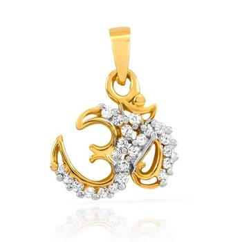 Mahi Gold Plated Om Mantra Pendant with CZ