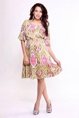 Ethnic Fusion Ikat Print Dress