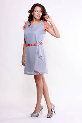 Ethnic Fusion Neon Detailed Tie-up Dress