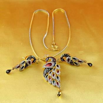 pendant  gold platted stone meenakari cz ad moti pearl polki kundun with earing