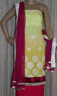 Lemon yellow embroidered georgette dress material