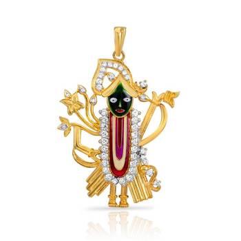Mahi Gold Plated Shreenathji Pendant with CZ