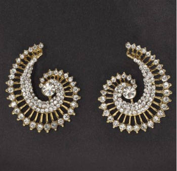 Golden ear cuffs with white stones