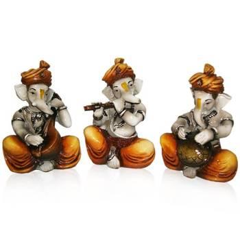 Set of 3 Instrumental Ganesha