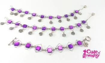 Purple squares 'r fun Bracelet and Anklet