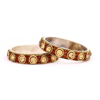 Ethnic kundan Copper Crystal Bangles