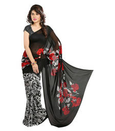 Buy Black  and  White printed georgette saree with blouse below-500 online