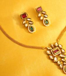 Buy Multicolour Kundan Meenakari Pendant Set black-friday-deal-sale online