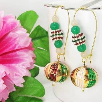 Meenakari Ball Loop Earring Stripes Green Maroon