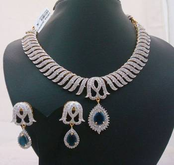 Vatika Designer Blue Color AD Necklace Set