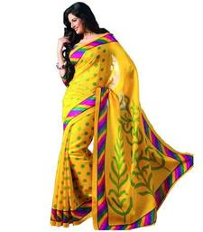 Buy yellow printed chanderi saree with blouse bhagalpuri-silk-saree online
