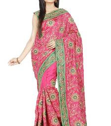 Buy Pink embroidered silk saree with blouse silk-saree online