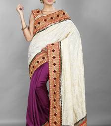 Buy Off White and purple  embroidered silk saree with blouse half-saree online