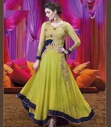 Buy Green embroidered georgette semi stitched salwar with dupatta anarkali-salwar-kameez online