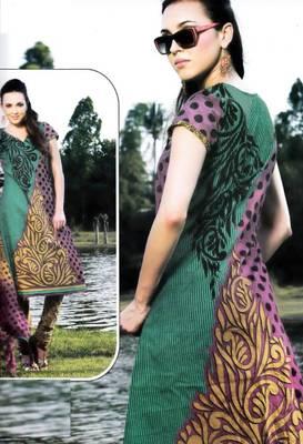 Cotton Dress Material With Chiffon Dupatta Unstitched Suit D.No 2554