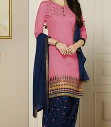 Buy Pink embroidered Pure Cotton and Cambric unstitched salwar with dupatta punjabi-suit online