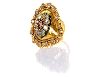 Designer Kundan Leaf Ring